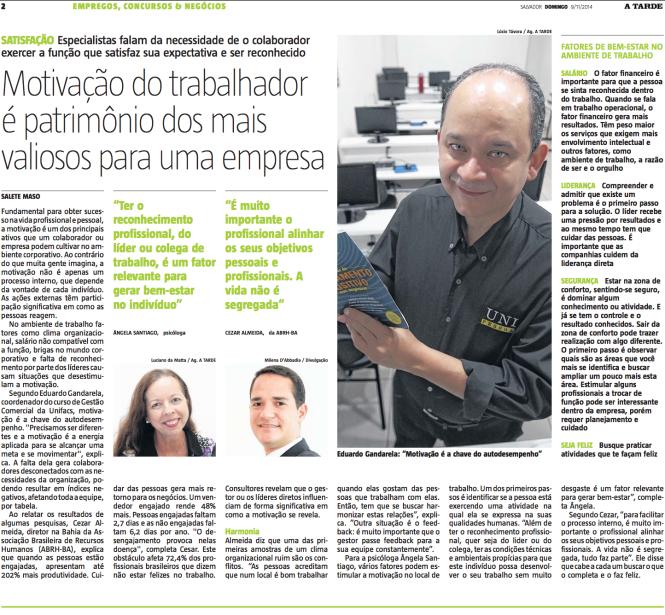 Motivação no trabalho - Entrevista Cezar Almeida Jornal A Tarde